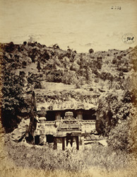 General view of the entrance to the Indra Sabha rock-cut temple, Ellora
